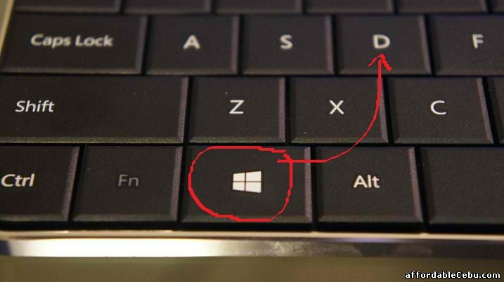 Windows key + letter D