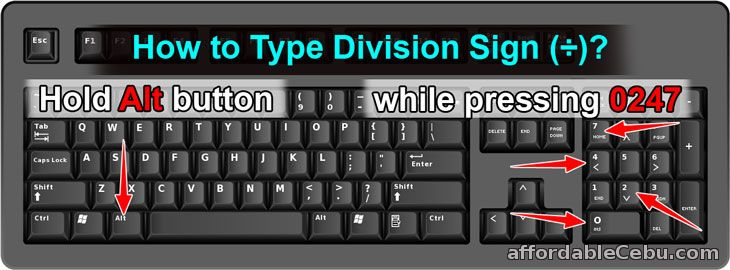 How to Type Division Sign
