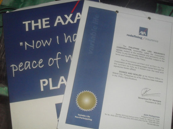 My AXA Insurance Policy