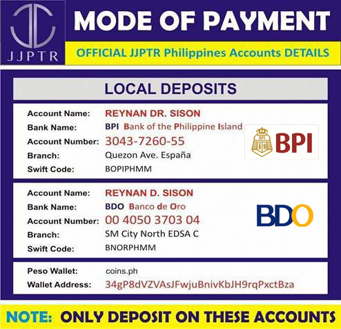 JJPTR Mode of Payment