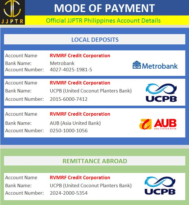 JJPTR Philippines Bank Accounts RVMRV CREDIT CORPORATION