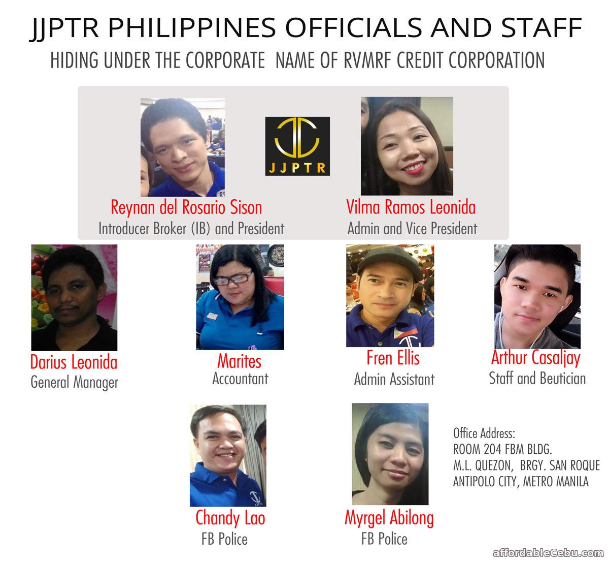JJPTR Philippines Officials and Staff