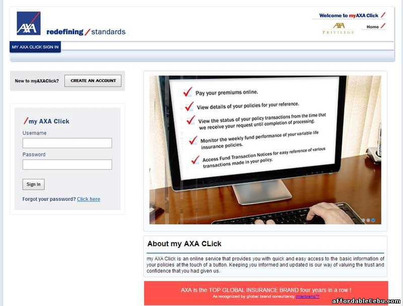 Log in Page of Axa Insurance Website