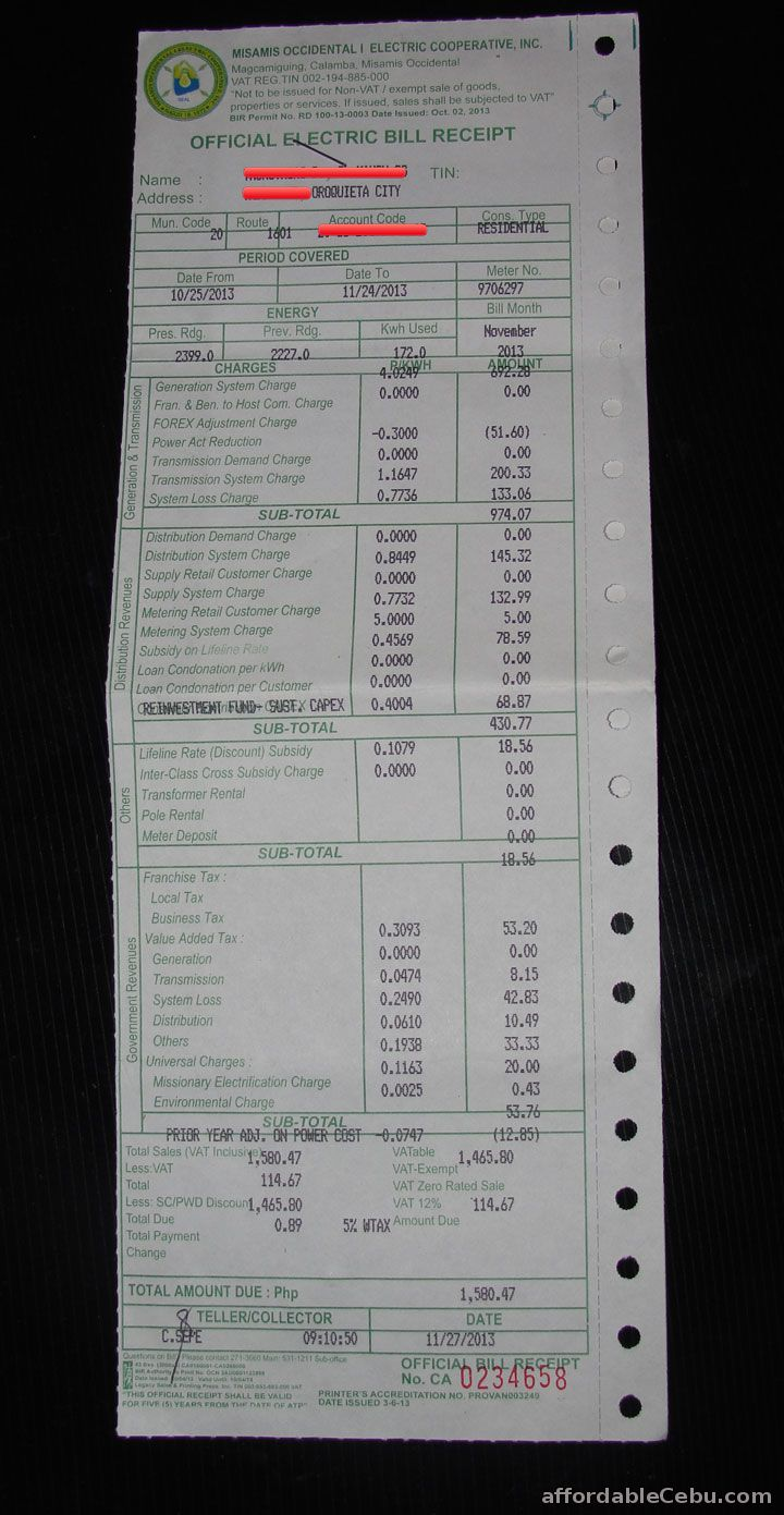 MOELCI Electric Bill Receipt