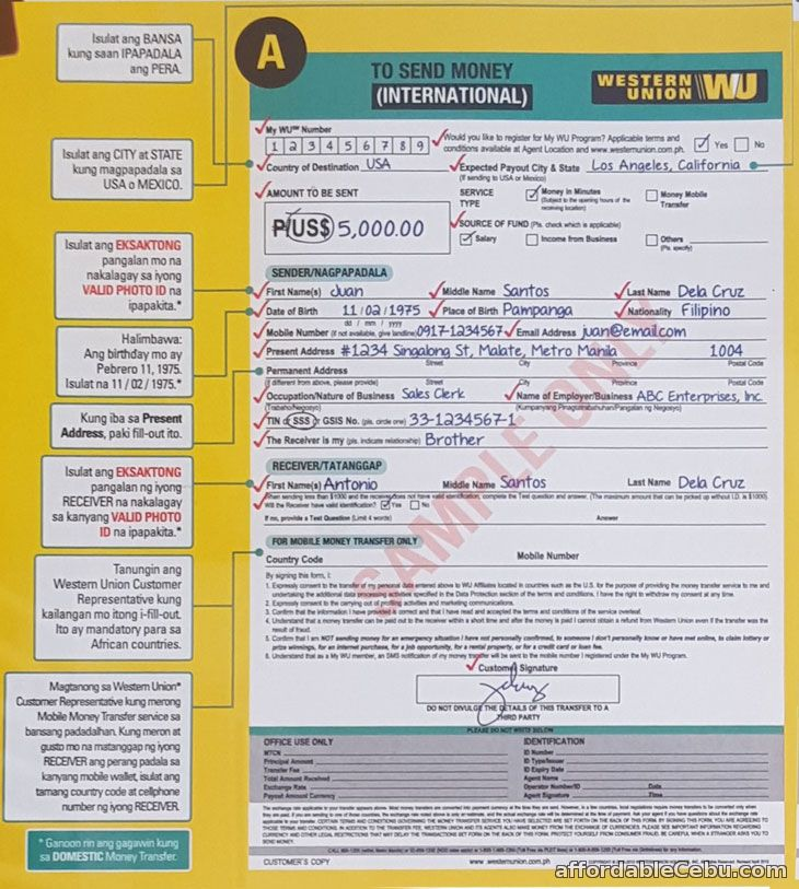 Western Union Send Money Form