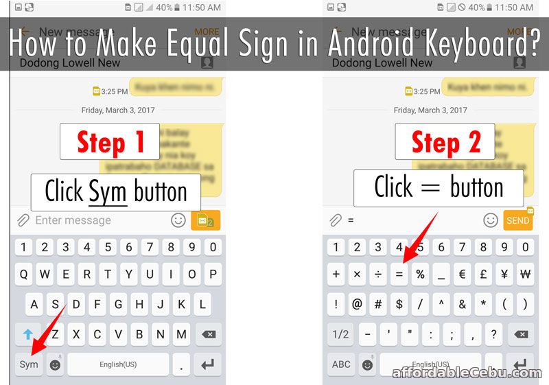 How to Make Equal Sign in Android Keyboard