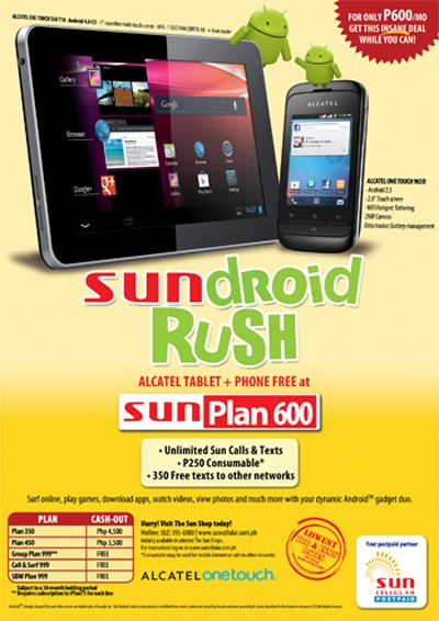 Sun Cellular Plan 600 Android Phone and Android Tablet
