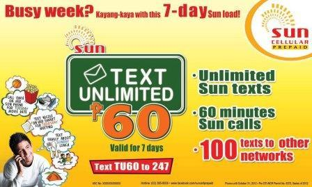 Sun Cellular Text Unlimited 60