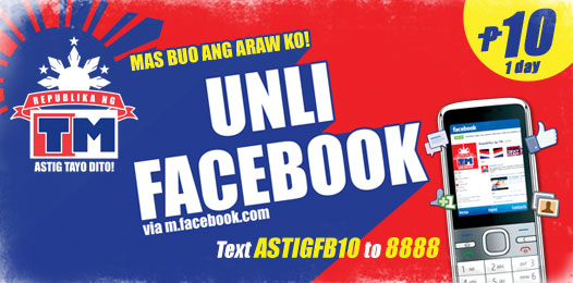 Unlimited Internet in Facebook through TM cellphone