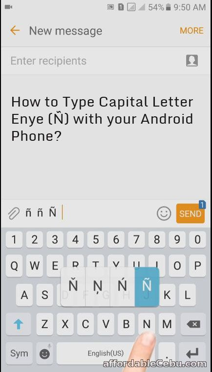 Capital Letter Enye in Android Phone