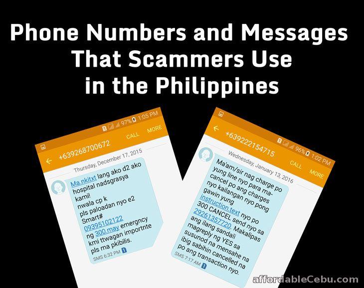 Phone numbers and text message scam in Philippines