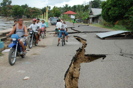 Earthquake destroyed the road in Negros Occidental