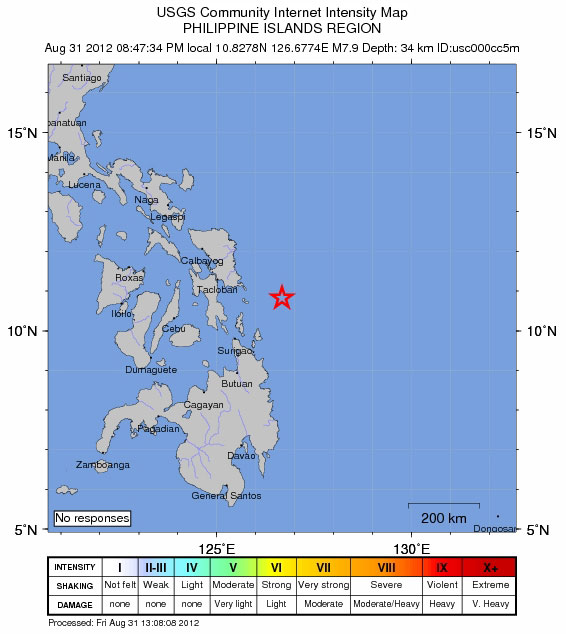 Epicenter of Earthquake in Philippines