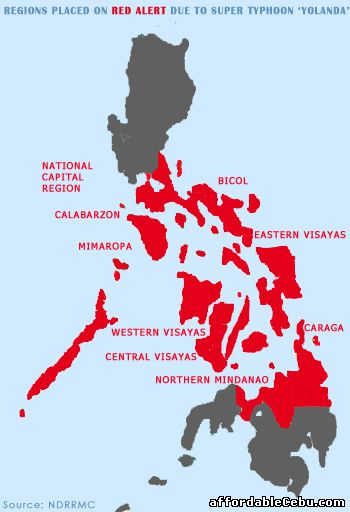 Typhoon Yolanda affected areas in Philippines