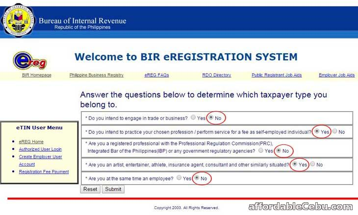 BIR TIN registration questionnaire