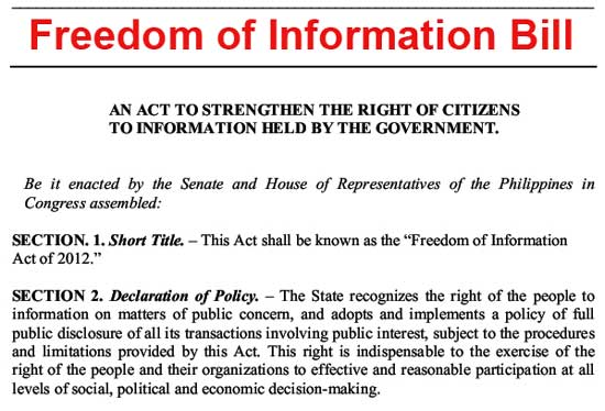 Freedom of Information Bill (FOI)