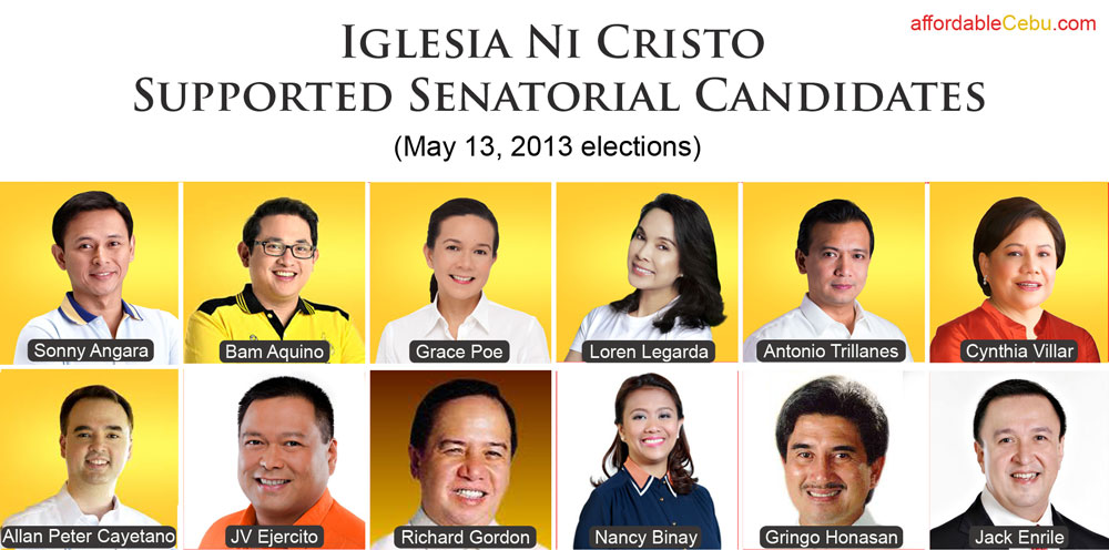 Iglesia ni Cristo Supported Candidates for Senator Election 2013