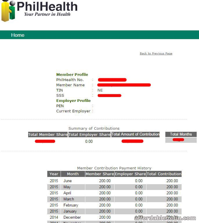 PhilHealth Contribution (Payment History)