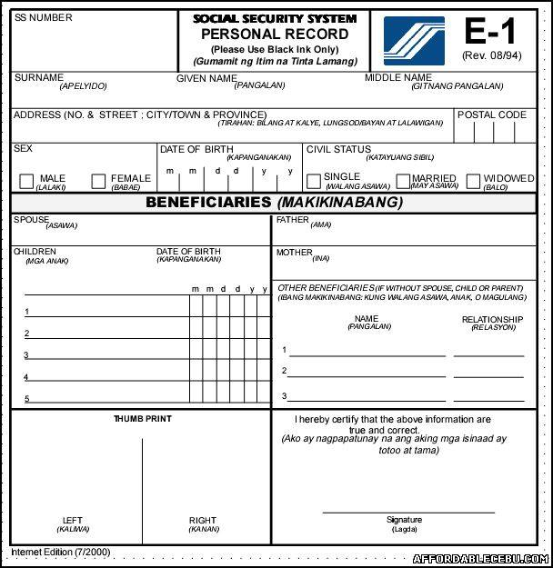 Social Security System SSS E1 Form