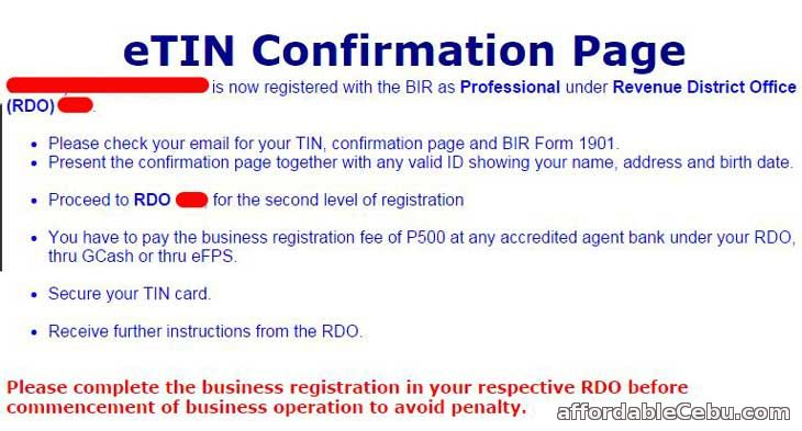 TIN Registration Confirmation Page