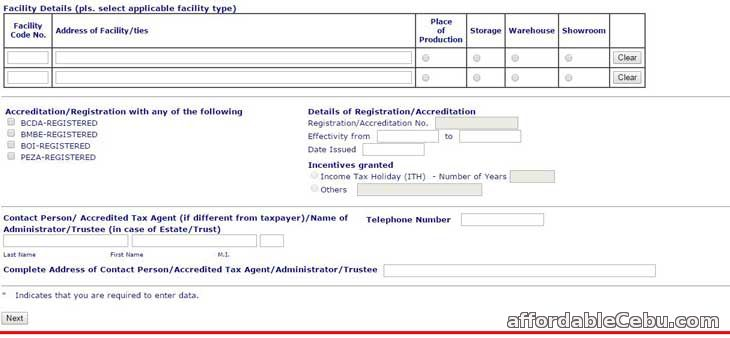 TIN online registration form 1c