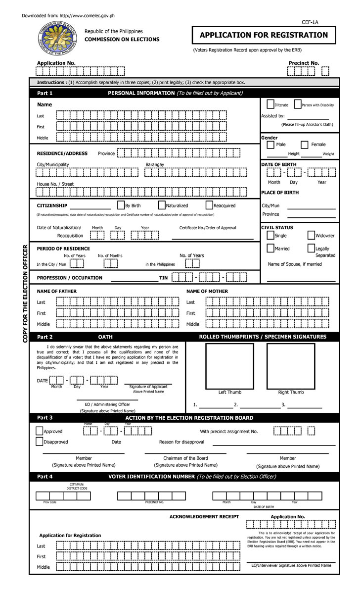 Voter's Registration Form