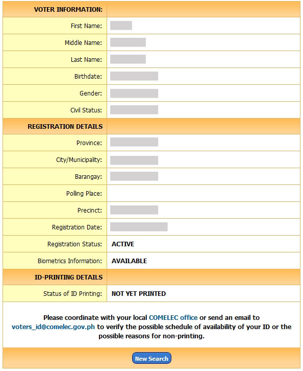 Voter's ID registration status checker result