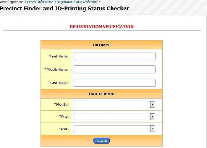 Voter's registration status checker of COMELEC