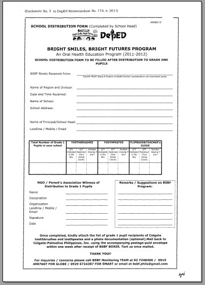School Distribution Form