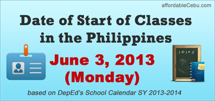 Date of Start of Classes in the Philippines