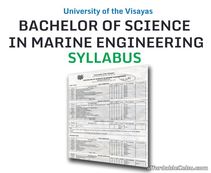 University of the Visayas Bachelor of Science in Marine Engineering Syllabus