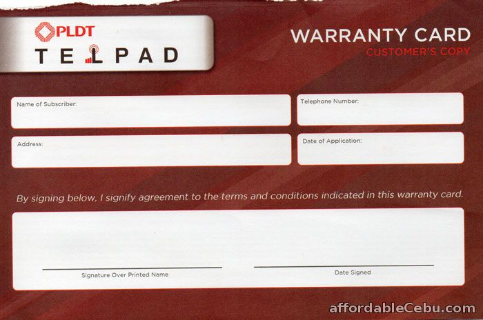 PLDT Telpad Warranty Card
