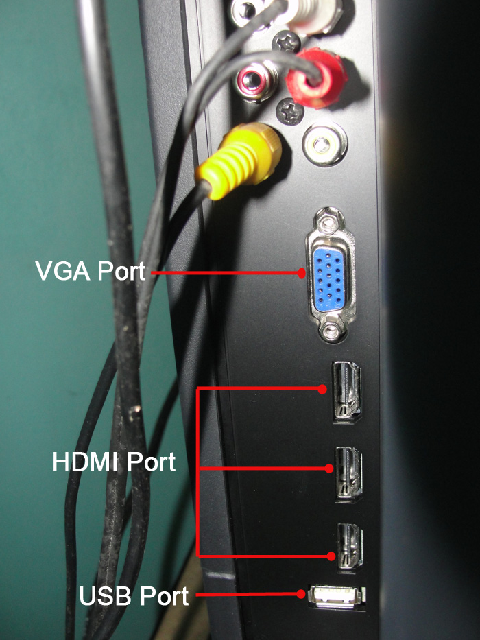 VGA Port, HDMI Port, USB Port Terminals in LCD TV