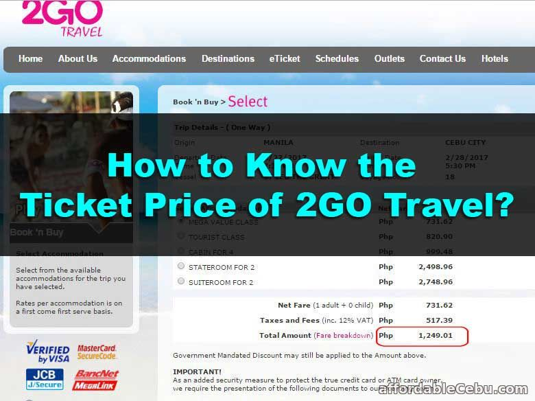 How to Know the Ticket Price of 2GO Travel?