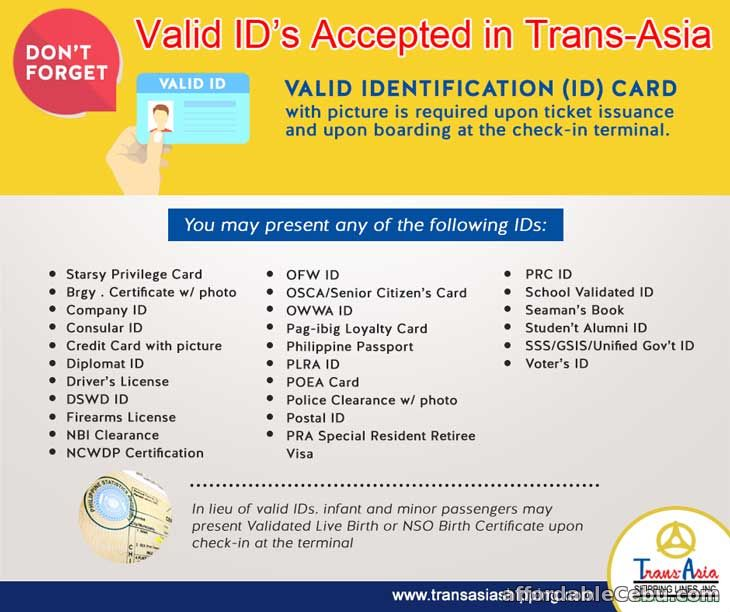 List of Valid ID accepted in Trans-Asia