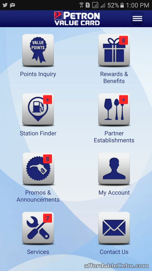 Petron Value Card app features