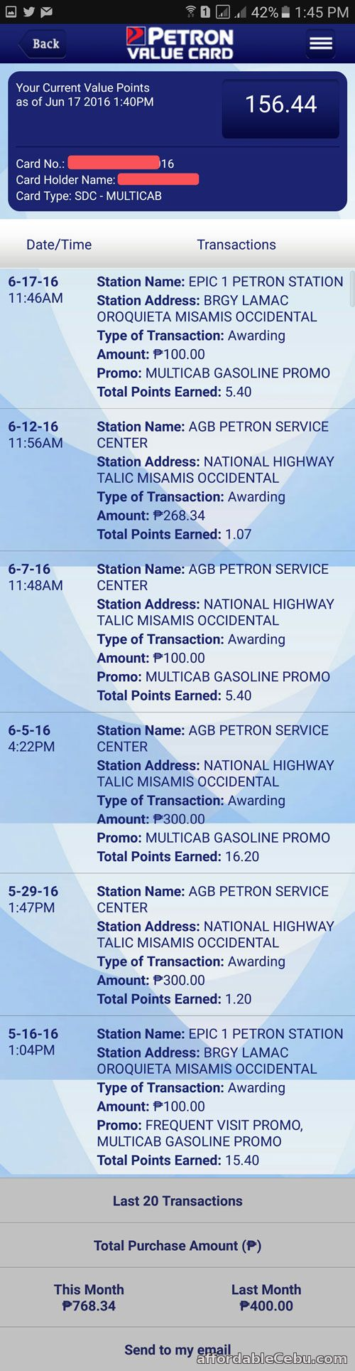 Petron Value Card Points Inquiry