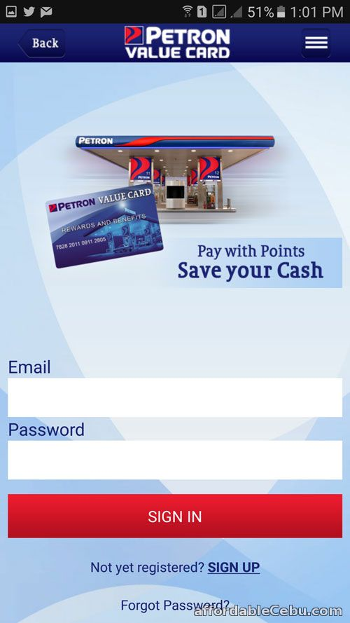 Petron Value Card log-in screen