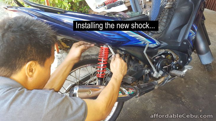 Installing the new motorcycle shock/suspension